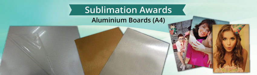 Supply coated aluminium board for heat transfer printing. Print and stick on plaque for trophy, wooden frame for certificate award, small plate for signage etc.