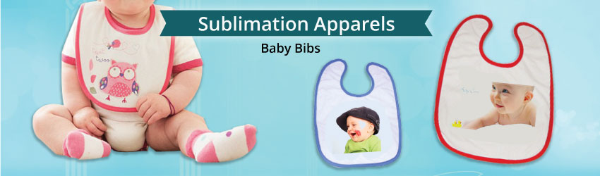 Supply sublimation baby bibs for heat transfer printing. Made in high quality polyester material. Variety colours such as blue and pink available. Nice gifts.