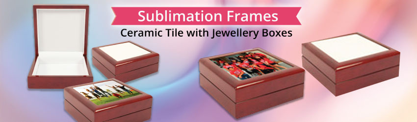 Supply sublimation coated ceramic tile with classic wooden jewelery box. Print your tile first, then use glue to stick it on your jewelery box. Wonderful gifts.