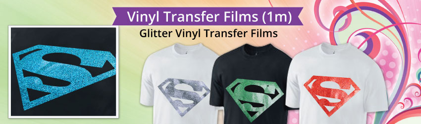 Glitter Iron-On Vinyl looks & feels awesome on jeans, T-Shirts, shoes, bags and more. Glitter Vinyl Transfer Film adds perceived value to logos, numbers etc.