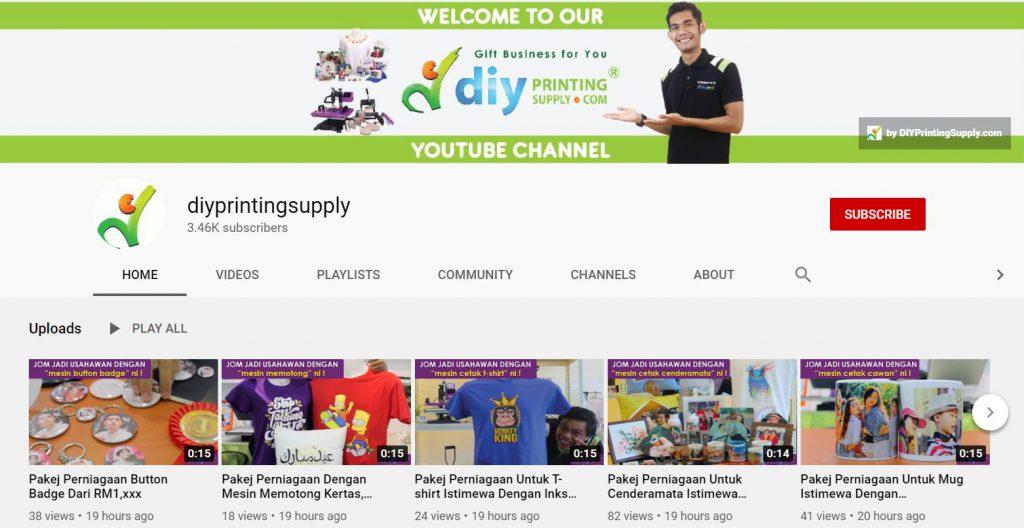 saluran youtube diyprintingsupply